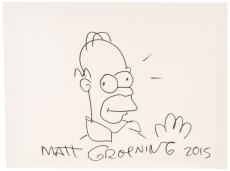 "Matt Groening Autographed 12"" x 16"" Hand Drawn Homer Simpson Sketch On Canvas - PSA/DNA COA"