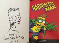 Matt Groening autographed signed auto doodled Simpsons Radioactive Man book