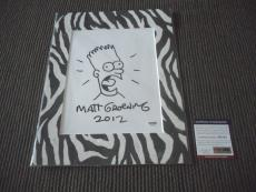 Matt Groening Bart Simpson Sketch Signed Autographed Photo Display PSA Certified
