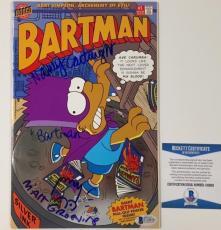 MATT GROENING Bart Sketch NANCY CARTWRIGHT Signed SIMPSONS Comic BAS Beckett COA