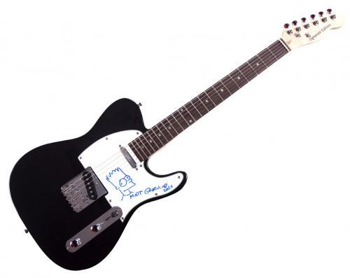 Matt Groening Hand drawn Bart Simpsons Signed Guitar UACC RD AFTAL COA
