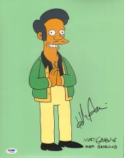 "MATT GROENING & HANK AZARIA The Simpsons ""Apu"" Signed 11x14 Photo PSA/DNA"