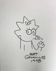 "Matt Groening Huge 18x23 Signed ""maggie Simpson"" Sketch 1998 Jsa Loa X09043"