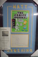 "Matt Groening ""love Is Hell"" Signed Autographed Double Matted & Framed Jsa Loa"