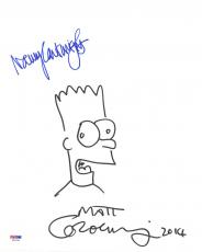 Matt Groening Nancy Cartwright SIGNED 11x14 The Simpsons Sketch LETTER PSA/DNA