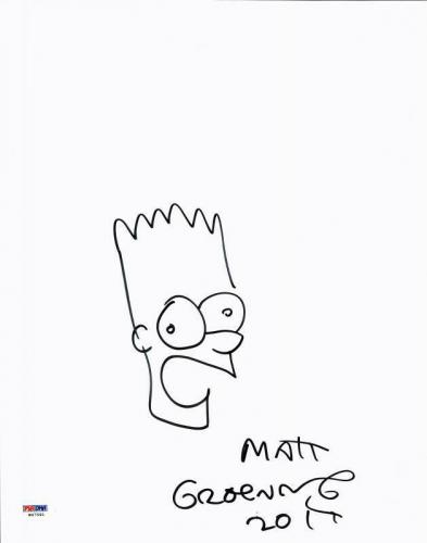 Matt Groening Signed 11X14 Bart Simpson Hand Drawn Sketch PSA #W47591