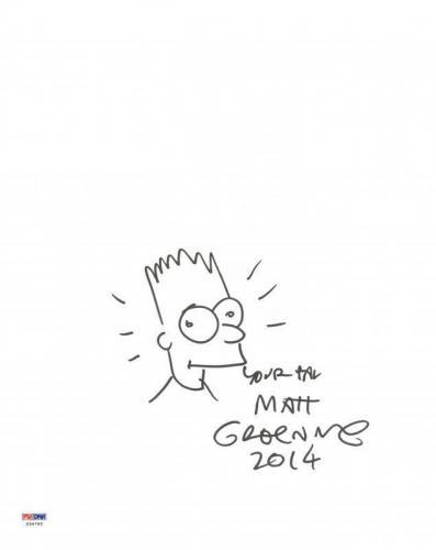 Matt Groening Signed 11X14 Hand Drawn Bart Simpson Sketch PSA #X34793
