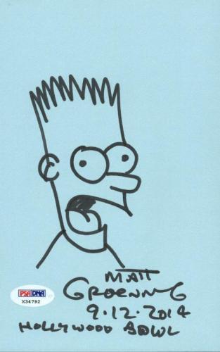 Matt Groening Signed 5X8 Hand Drawn Bart Simpson Sketch PSA #X34792