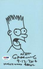 Matt Groening Signed 5X8 Hand Drawn Bart Simpson Sketch PSA #X34792