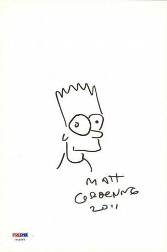 Matt Groening Signed 6.75X10.25 Bart Simpson Sketch PSA/DNA #W46061