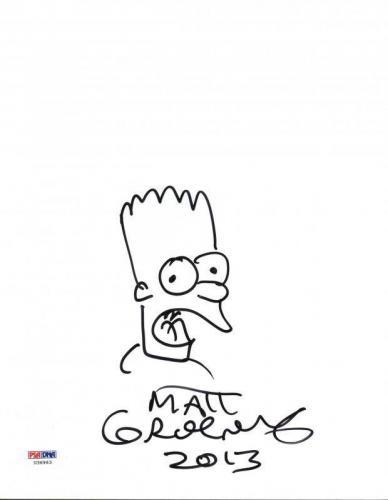 Matt Groening Signed 8X10 Hand Drawn Bart Simpson Sketch PSA #U36963