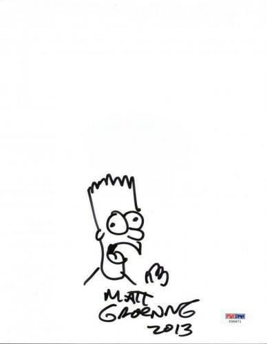 Matt Groening Signed 8X10 Hand Drawn Bart Simpson Sketch PSA #U36971