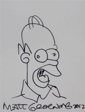 Matt Groening Signed 8x10 Homer Simpson Sketch The Simpsons PSA/DNA Auto T59769