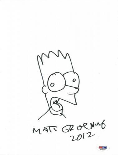 Matt Groening Signed 9X12 Hand Drawn Bart Simpson Sketch PSA #T13929