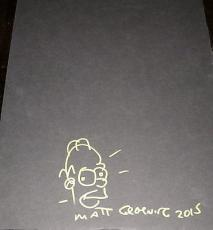 "Matt Groening Signed Autograph Rare ""homer"" Simpsons Gold Sketch Art Jsa Y40161"