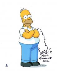 MATT GROENING SIGNED AUTOGRAPHE​D 8x10 PHOTO THE SIMPSONS + SKETCH BECKETT BAS