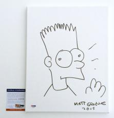 Matt Groening Signed Bart Simpson Sketch 11x14 Canvas Board Psa Coa Aa68530
