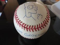 Matt Groening Signed Bart Simpson Sketch On Baseball   Best Ever      Jsa Letter