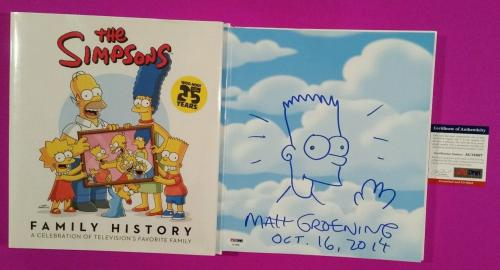 Matt Groening Signed Book With Bart Sketch The Simpsons Family History Psa/dna