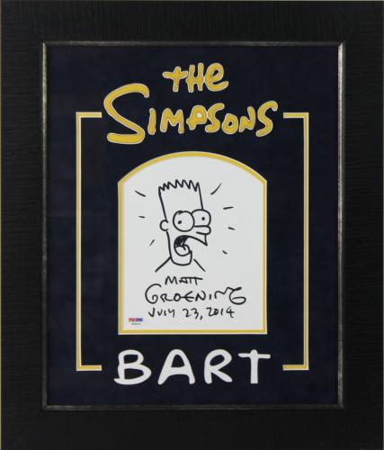Matt Groening Signed & Framed Hand Drawn Bart Simpson Sketch PSA/DNA #X09215