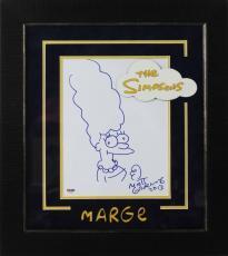 Matt Groening Signed Hand Drawn Marge Simpson Sketch Framed PSA/DNA #V67333