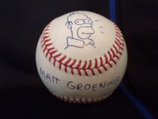 Matt Groening Signed Homer Simpson Sketch On Baseball   Best Ever     Jsa Letter