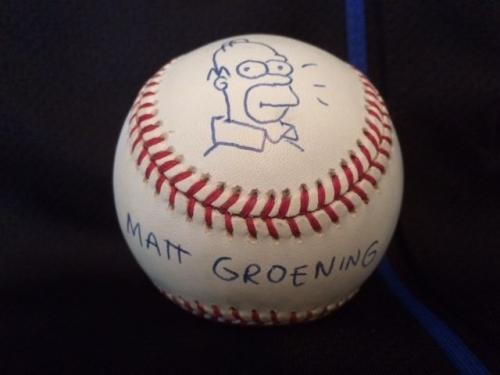 Matt Groening Signed Homer Simpson Sketch On Baseball   Best Ever     Jsa Letter