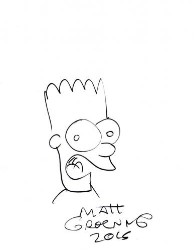 Matt Groening Signed Simpsons Authentic Autographed 8.5x11 Sketch PSA/DNA#Y81950