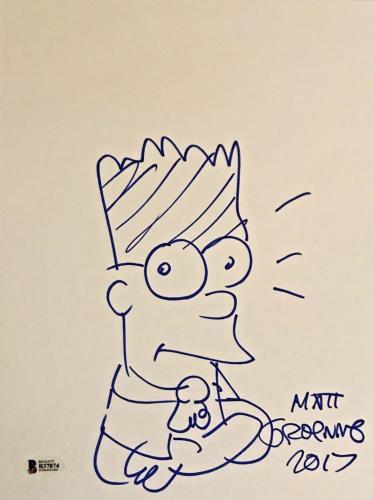 MATT GROENING Signed SKETCH 9x12 The Simpsons Bart Simpson Auto BAS Beckett COA