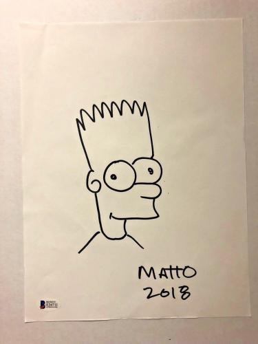MATT GROENING Signed SKETCH 9x12 The Simpsons Bart Simpson  BAS Beckett COA Auto