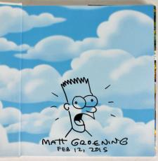 Matt Groening Signed The Simpsons Family History Book w/ Bart Sketch PSA #Z55797