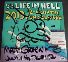 "Matt Groening Simpsons Signed Autograph Sketch 12x12  ""life In Hell"" Psa/dna Coa"