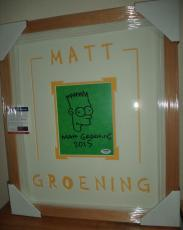 Matt Groening Simpsons Signed Autograph Sketch Double Matted Framed Psa Coa A