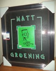 Matt Groening Simpsons Signed Autograph Sketch Double Matted Framed Psa/dna Coa