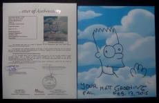 Matt Groening Simpsons Signed Autographed 9x11 Bart Sketch W/coa Authentic Rare