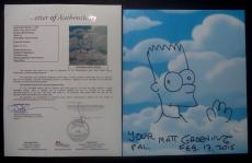 Matt Groening Simpsons Signed Autographed 9x11 Bart Sketch W/coa Authentic Rare