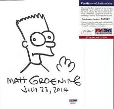 Matt Groening Simpsons Signed Autographed 9x6 Bart Sketch Psa/dna Coa Rare A