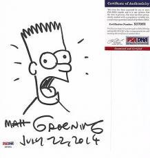 Matt Groening Simpsons Signed Autographed 9x6 Bart Sketch Psa/dna Coa Rare E