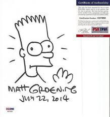 Matt Groening Simpsons Signed Autographed 9x6 Bart Sketch Psa/dna Coa Rare I