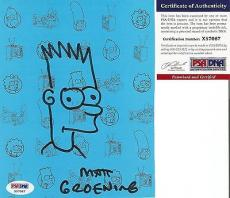 Matt Groening Simpsons Signed Autographed & Bart Sketch 6x7 Photo Psa/dna Coa