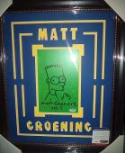 Matt Groening Simpsons Signed Bart Sketch 7x9 Double Matted Framed Psa/dna Coa B