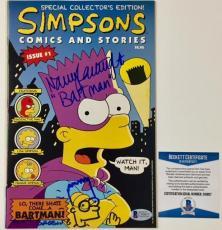 MATT GROENING Sketch NANCY CARTWRIGHT Signed BART SIMPSON Comic  BAS Beckett COA