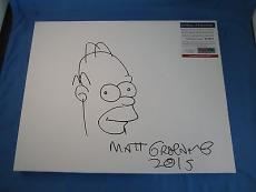 Matt Groening The Simpsons Homer Signed 11x14 Drawn Sketch PSA DNA COA Autograph