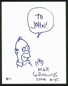 Matt Groening The Simpsons Signed 8.5x11 Homer Sketch BAS #C96976