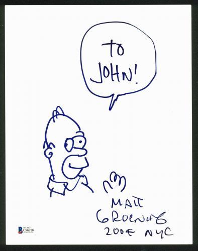 Matt Groening The Simpsons Signed 8.5x11 Homer Sketch BAS #C96976