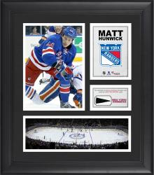 """Matt Hunwick New York Rangers Framed 15"""" x 17"""" Collage with Piece of Game-Used Puck"""