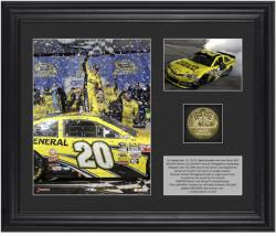 Matt Kenseth 2013 Geico 400 Race Winner Framed 2-Photograph Collage with Gold-Plated Coin - Limited Edition of 320 - Mounted Memories