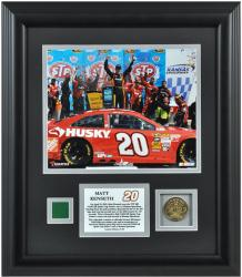 Matt Kenseth 2013 STP 400 Race Winner Framed 8'' x 10'' Photograph with Gold Coin & Race-Used Flag-Limited Edition of 120 - Mounted Memories