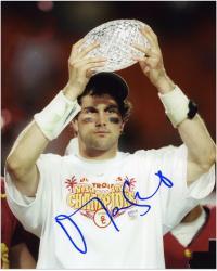 "Matt Leinart USC Trojans Autographed  8"" x 10"" Holding Trophy Photograph"