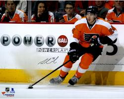 """Matt Read Philadelphia Flyers Autographed Orange Jersey Stopping With Puck 16"""" x 20"""" Photograph"""